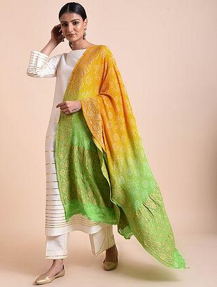 Yellow-Green Handwoven Bandhani Benarasi Georgette Dupatta