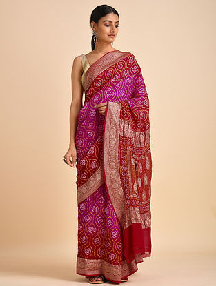 Red-Pink Handwoven Bandhani Benarasi Georgette Saree
