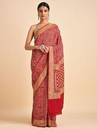 Red Handwoven Bandhani Benarasi Georgette Saree