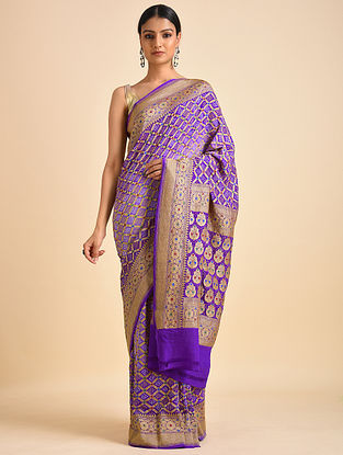 Purple Handwoven Bandhani Benarasi Georgette Saree