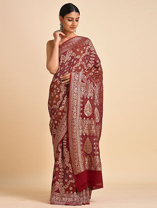 Red Handwoven Bandhani Benarasi Georgette Saree