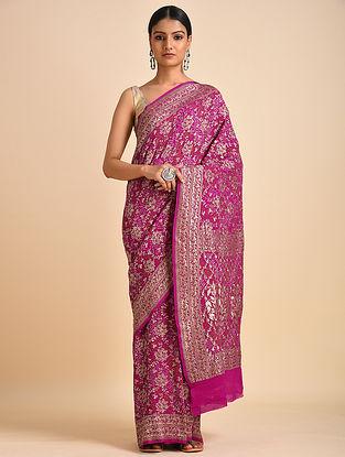 Pink Handwoven Bandhani Benarasi Georgette Saree