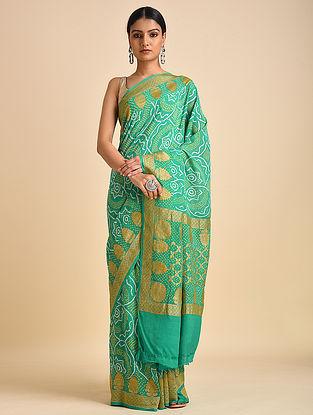 Green Handwoven Bandhani Benarasi Georgette Saree