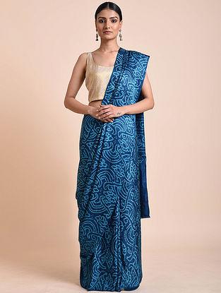 Blue Bandhani Gajji Silk Saree