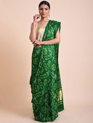 Dark Green Bandhani Gajji Silk Saree