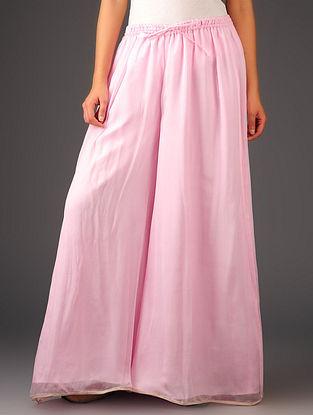 Shell Pink-Golden Chiffon-Tissue Elasticated Waist Palazzos-Free Size