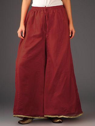 Red-Golden Chiffon-Tissue Elasticated Waist Palazzos-Free Size