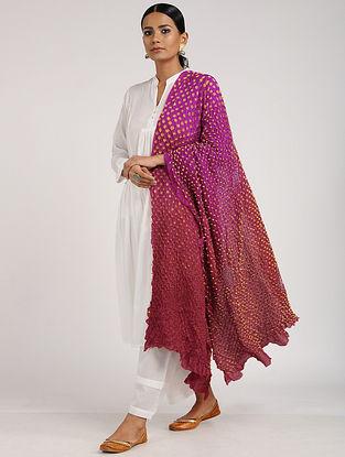Pink-Yellow Bandhani Habutai Silk Dupatta
