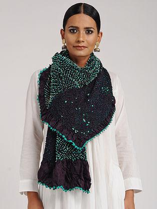 Black-Green Bandhani Habutai Silk Dupatta