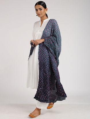 Grey-Pink Bandhani Habutai Silk Dupatta