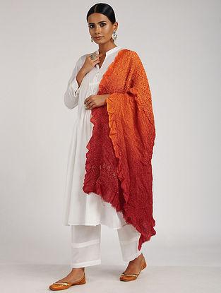 Orange-Red Bandhani Silk Dupatta