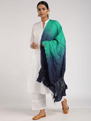 Green-Blue Bandhani Silk Dupatta