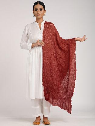 Red-Ivory Bandhani Silk Dupatta