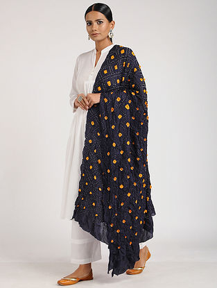Black-Orange Bandhani Silk Dupatta