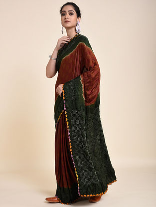 Green-Red Bandhani Ajrakh Printed Silk Saree