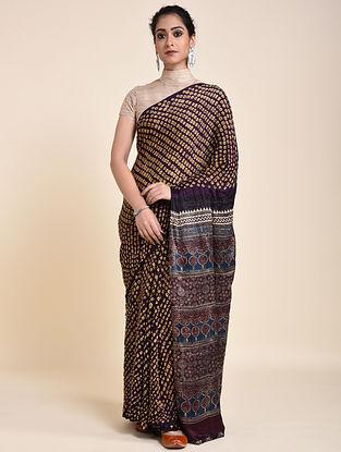 Purple-Yellow Bandhani and Ajrakh Printed Silk Saree