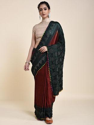 Green-Rust Bandhani and Ajrakh Printed Silk Saree