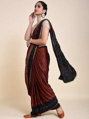 Black-Rust Bandhani and Ajrakh Printed Silk Saree