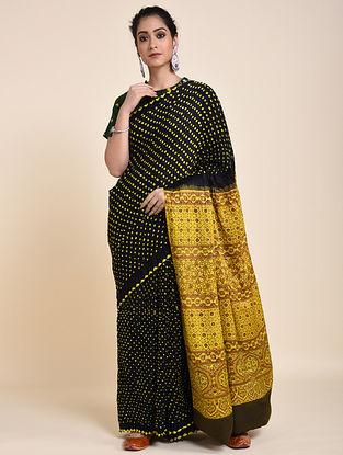 Black-Yellow Bandhani and Ajrakh Printed Silk Saree