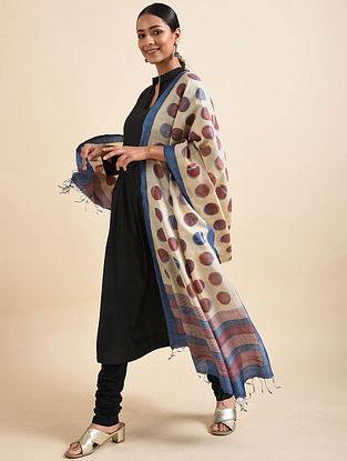 White-Purple Handwoven Block Printed Tussar Silk Dupatta