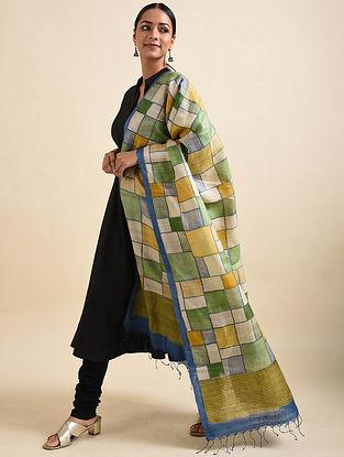 Green-Yellow Handwoven Block Printed Tussar Silk Dupatta