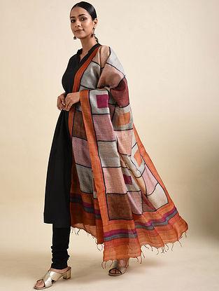 Orange-Purple Handwoven Block Printed Tussar Silk Dupatta