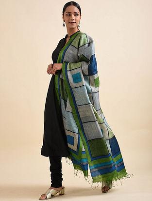 Green-Blue Handwoven Block Printed Tussar Silk Dupatta