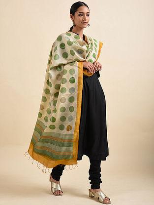 White-Green Handwoven Block Printed Tussar Silk Dupatta
