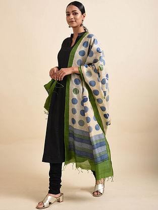 Ivory-Blue Handwoven Block Printed Tussar Silk Dupatta