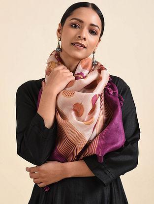 Peach-Purple Handwoven Block Printed Silk Stole