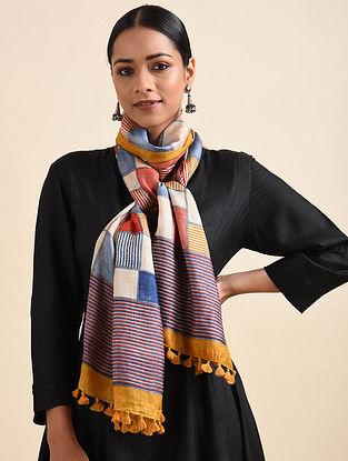 Multicolored Handwoven Block Printed Silk Stole