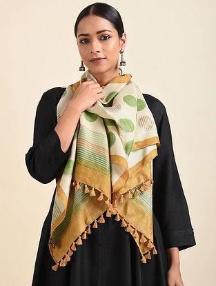 Off White-Green Handwoven Block Printed Silk Stole