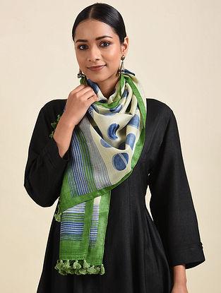 Ivory-Green Handwoven Block Printed Silk Stole