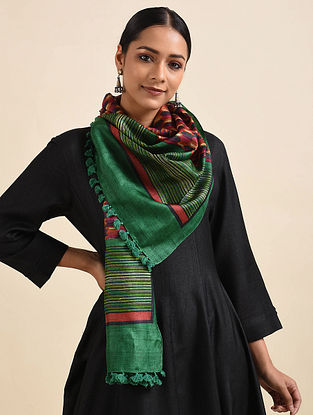 Green-Red Handwoven Block Printed Silk Stole