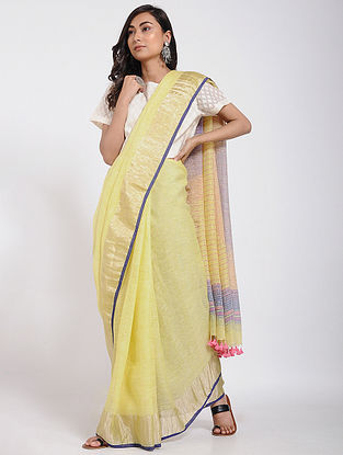 Yellow-Blue Linen Jamdani Saree with Zari and Tassels