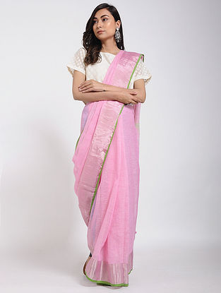 Pink Linen Jamdani Saree with Zari and Tassels