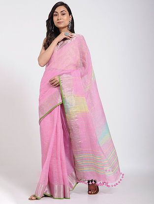 Pink-Blue Linen Jamdani Saree with Zari and Tassels