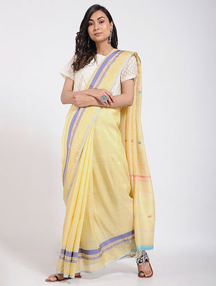 Yellow-Blue Silk Linen Jamdani Saree
