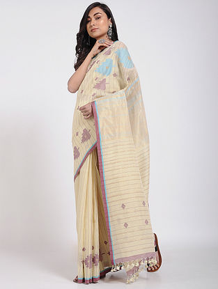 Beige-Blue Khadi Linen Jamdani Saree with Zari