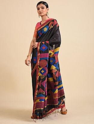 Black Handwoven Jamdani Silk Saree