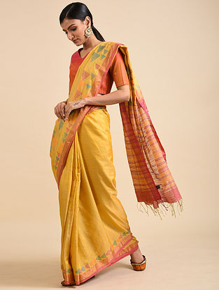 Yellow Handwoven Jamdani Silk Saree