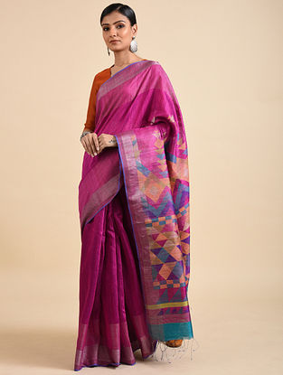 Purple Handwoven Jamdani Silk Saree