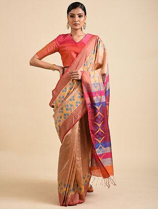 Beige Handwoven Jamdani Silk Saree