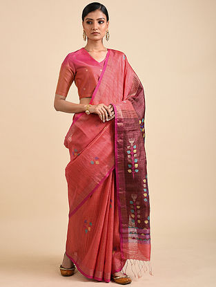Onion Pink Handwoven Jamdani Silk Saree