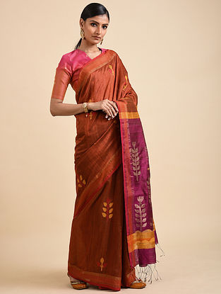 Copper-Purple Handwoven Jamdani Silk Saree