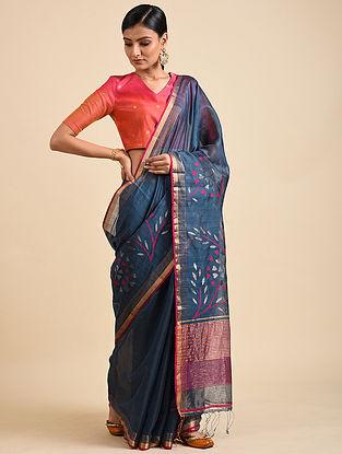 Blue Handwoven Jamdani Silk Saree