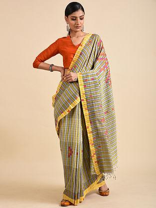 Yellow-Grey Handwoven Jamdani Silk Saree