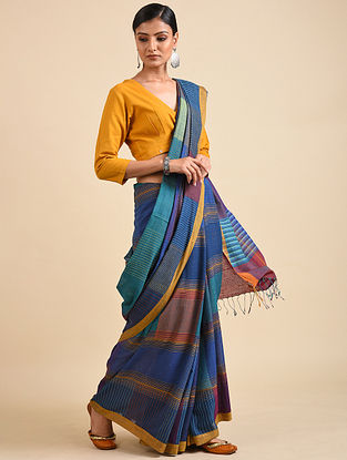 Blue Handwoven Jamdani Silk Saree
