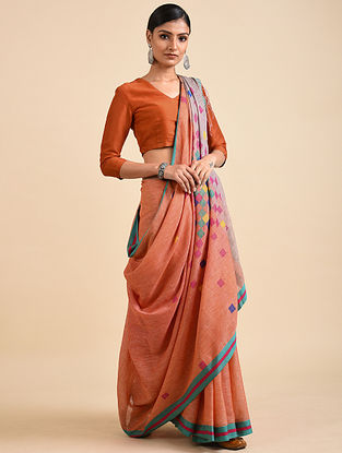 Orange Handwoven Jamdani Linen Saree