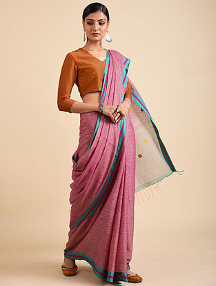 Pink-Blue Handwoven Jamdani Linen Saree